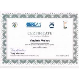 Certificate it is hereby certified that V.Malkov