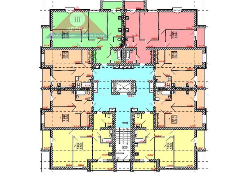Дом №1, №2, №3, №4   2 - 9 этажи