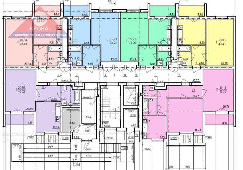 Дом №2  секция А 1-й этаж