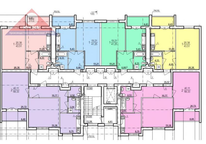 Дом №1  секция А 2 - 9  этажи