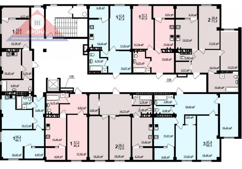 Дом №1   2 - 9 этажи