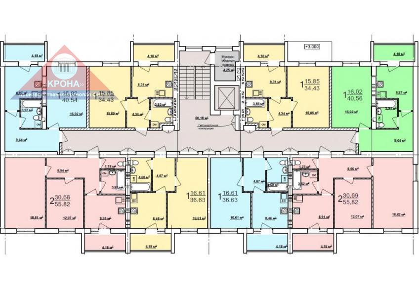 Дом №4  секция А 2 - 9  этажи