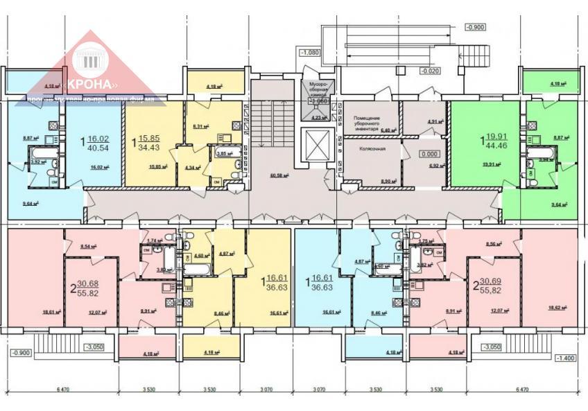Дом №4  секция Б 1-й этаж
