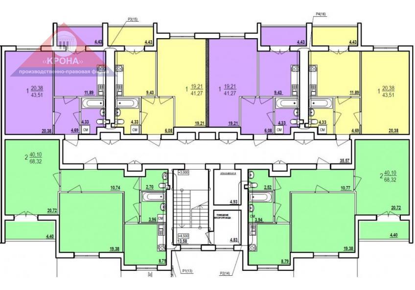 Дом №7  секция А 2 - 9  этажи