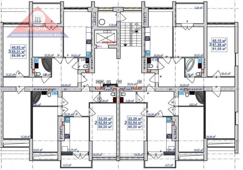 Секция Б   2 - 9 этажи