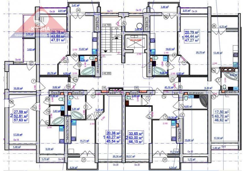 Секция В   2 - 9 этажи