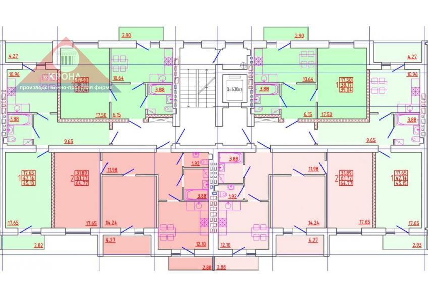 Секция В 2-9 этажи
